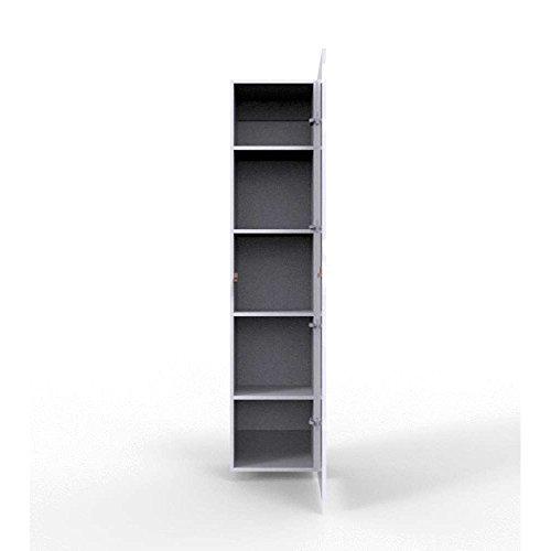 JUSThome Vigo IX Wohnwand Anbauwand Schrankwand Weiß Matt | Grau Hochglanz - 3