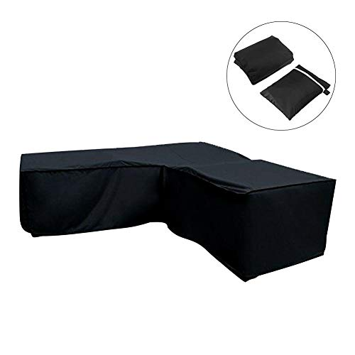 Xploit 210D Black L Shape Corner Möbel Sofa Rattan Dustproof Protection Cover Outdoor Dining Patio Set Cover Waterproof -