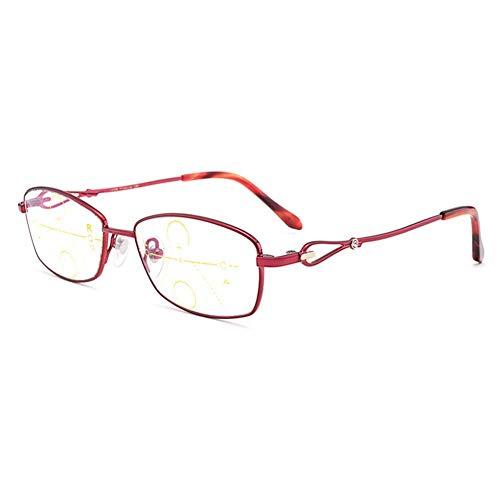 Ultraleichte Sonnenbrille, progressive Lesebrille mit Doppelfokus und Rahmen aus Aluminium-Anti-UV-Schutz lindern die Ermüdung der Augen,Red,+3.5
