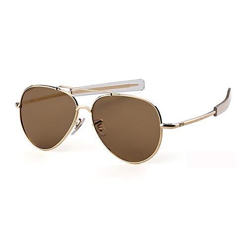 Sonnenbrille,Piloten Sonnenbrille Militärischen Tempel Kabel Spachtel Army Air Force Männer Uv 400 Sonnenbrille Golden Braun