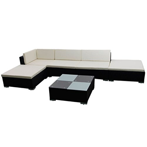 'Set of 15 Poly Rattan Garden Furniture Lounge Set Sofa