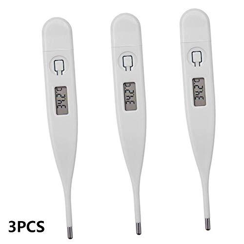 DHQSS Digitales Baby Fieberthermometer, Basalthermometer Nachkommastellen Messwertspeicher Flexible Spitze Monitor Fieber Temperatur (3Pcs)