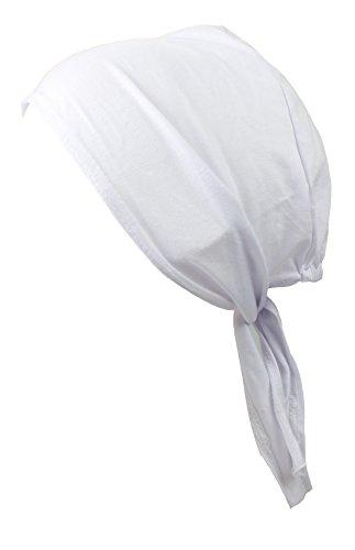 Bandana Caps mit Öffnung hinten - 100% Baumwolle in weiss (Cap Baumwolle 100%)