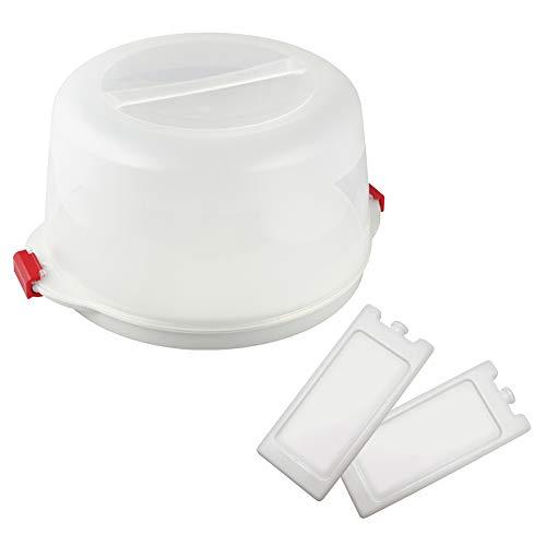 Dr. Oetker Kuchentransportbox Ø 38 x 19 cm Bake & GO, für alle gängigen Kuchengrößen, Tortenbutler mit Tragehenkel und Fach für Kühlakkus, inklusive Akkus (Farbe: Transparent/Rot), Menge: 1x 3er Set