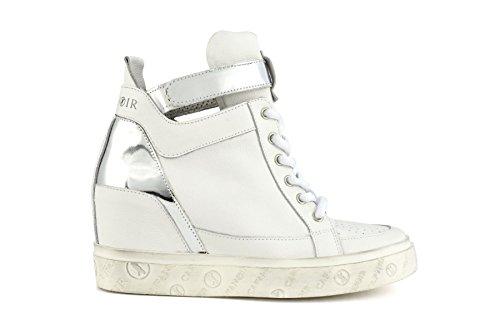 Sneaker su zeppa donna Cafè Noir DE121 bianco/argento e crema/platino (38, Bianco/Argento)