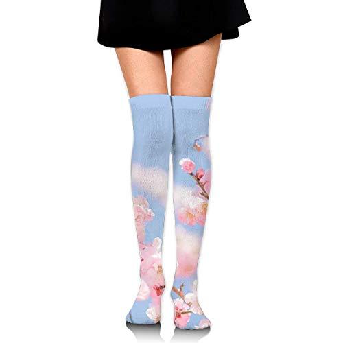 Peach Landscape Compression Socks Foot Long Stockings Knee High Socks for Men Women Supports Sport Running Cycling Football Slim Leg Travel Medical Nursing - Peach Knit Top