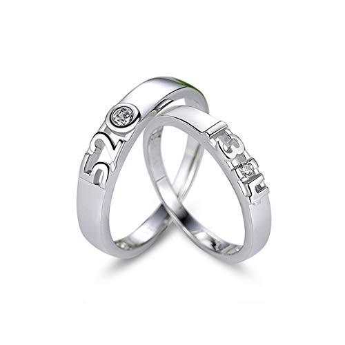 ROMQUEEN Schmuck Ring Partnerringe Lila Verlobungsring Krone,Frau:59(18.8)&Mann:64(20.4) (Ring Granat Ewigkeit Silber)
