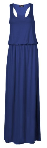 Fast Fashion Damen Armelloses Racerback Toga Puff Ball Maxi Kleid (EUR 36/38 - UK (8-10), Königsblau) (Kleid Ball Puff)