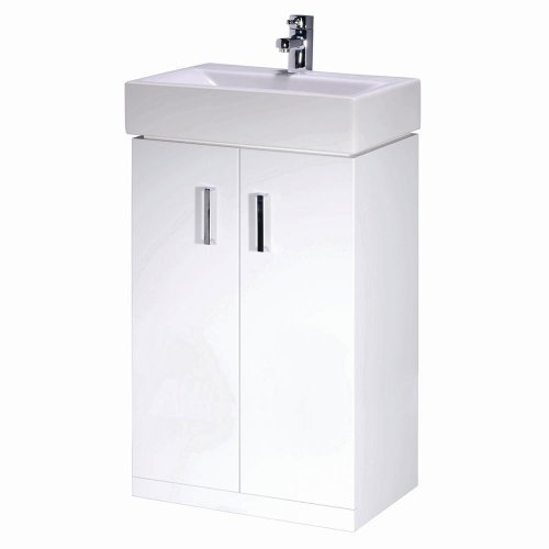 Trueshopping Chatham 450mm Bathroom Floor Standing Two Soft Close Door Gloss White Storage Vanity Unit Chrome Handles with Ceramic Basin/Sink For Bathroom Cloakroom En Suite