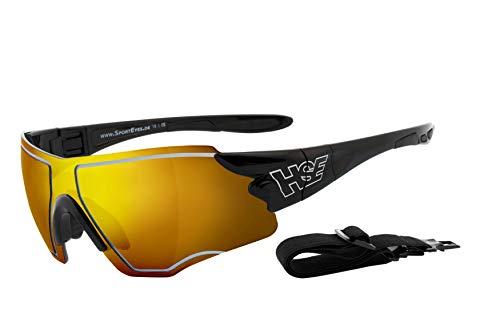 HSE SportEyes® | UV400 Schutzfilter, HLT® Kunststoff-Sicherheitsglas nach DIN EN 166 | Sportbrille, Radbrille, Sonnenbrille| Brillengestell: schwarz, Brille: SPEEDWULF