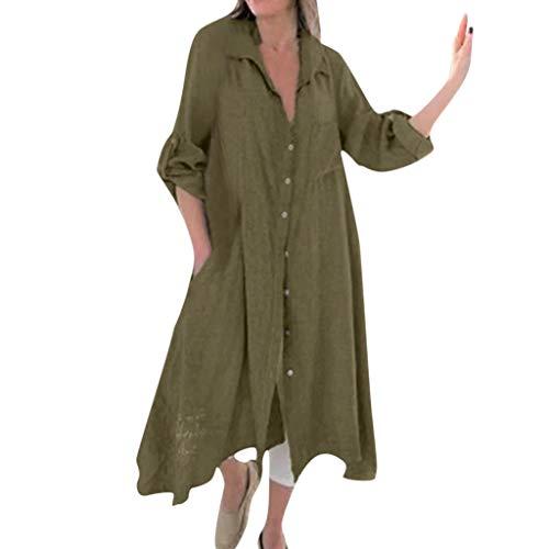 Smonke Damen Retro Lose Bluse Lange Ärmel Beiläufig V-Ausschnitt Maxikleid Mode Freizeit Elegant Urlaub Stil Asymmetrisch Revers Taschen Taste Mantel Kleid