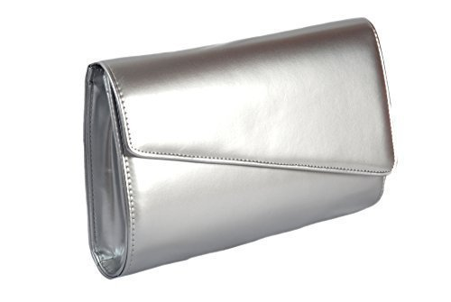 argent-haute-brillance-verni-sac-a-main-pochette-grand-occasion-bag