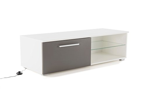 Soliving Colorado Meuble TV LED, MDF, Blanc/Gris, 120 x 45 x 35 cm