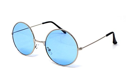 Ultra Silver Framed with Blue Lenses Adults Retro Round Sunglasses.