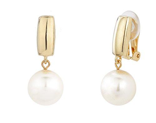 Traveller® Schmuck Ohrring Ohrclip mit Crystals from Swarovski® - 22kt vergoldet oder rhodiniert - Perle Ø 12mm (gold)