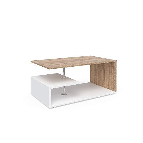 Vicco Couchtisch Guillermo 90 x 50 cm - Wohnzimmertisch Beistelltisch Holztisch Kaffeetisch - 4 Farben zur Auswahl (weiß Sonoma Eiche) -