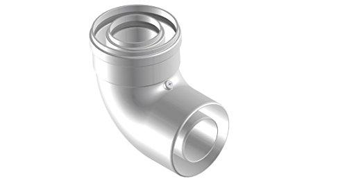 Courbe coaxial 90° M–F Ø60polypropylène (PPS)/extérieur aluminium 100pour chaudière à condensation