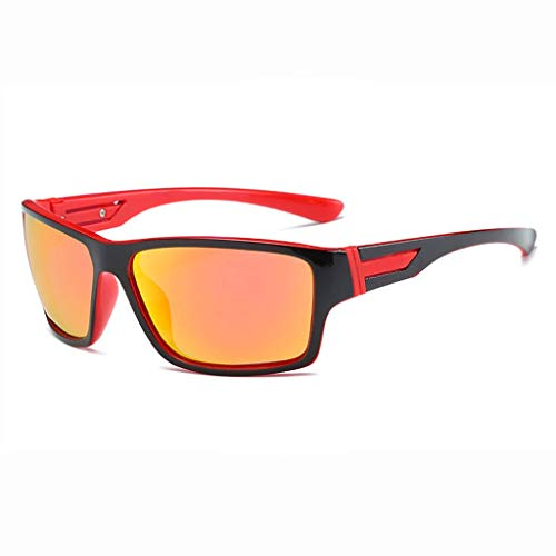 MWPO Polarisierte Sonnenbrille Sport Reiten Fahren Bergsteigen im Freien Blendschutz Augenmüdigkeit Gesichtsfeld Klarer Spiegel (Farbe: Schwarz, roter Rahmen, rote Linse)