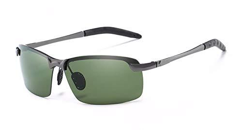 WSKPE Sonnenbrille,Herren Sonnenbrille Im Freien Treibenden Polarisierte Sonnenbrillen Gläser Grauer Rahmen Dunkel Grüne Linse