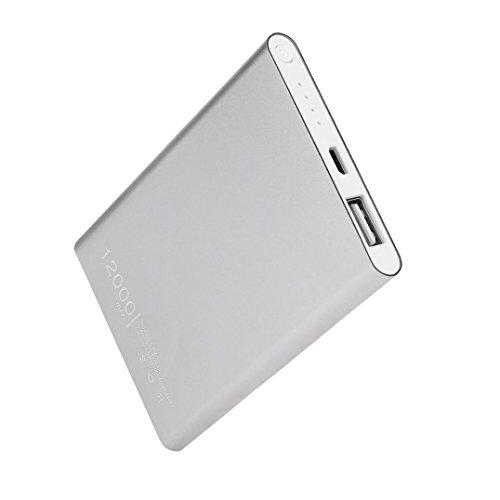 Ouneed Mobile Power Bank Super -Slim 12000mAh USB Chargeur de Batterie Externe (Argente)