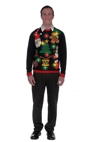 Forum Novelties Everything Christmas Light Up Sweater Adult Costume (L)