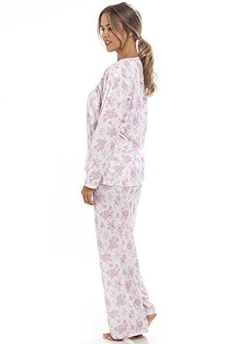 Camille - Langer Schlafanzug mit rosa Blumenmuster - Weiß Pink