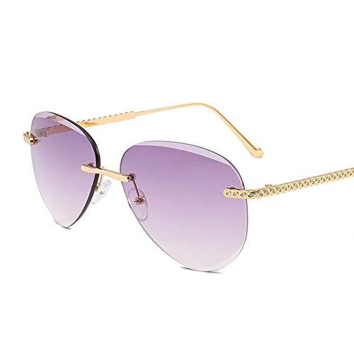 Li Kun Peng Sonnenbrille Damen Pilot Rahmenlos Designer Sonnenbrille Gradient Shades Schneidlinse Eyewear UV400,C1Gold~Gray