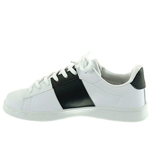 Angkorly - Chaussures De Tennis Sneaker Mode Femme Talon Talon Plat De 2,5 Cm Blanc