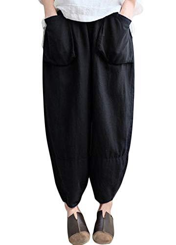 Romacci Damen Pluderhosen Elastische Taille Solid Wide Leg Hose Baggy Lose Baumwolle Leinenhose (Wide-leg Leinen Hose)