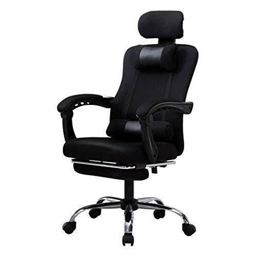 BEANFAN Stühle Verstellbarer Chefsessel Büro Ergonomische Aufgabe Computer Gaming Mesh Liegender Klapparm Schwenkbare Unterstützung Kopfstütze Lendenwirbel mit Fußstütze, 52x53x45-53cm