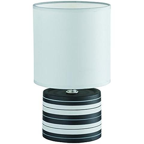 Reality Ring - Lámpara halógeno de mesa con cable de interruptor, color negro, 26 cm alto x 14 cm