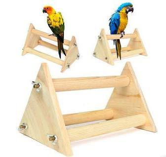WTTTTW Papagei-Stand-Barsch, Haustier-Vogel-stehender Spielplatz lustiges hölzernes Tätigkeits-Trainings-Spielzeug für Vogel -