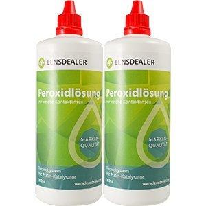 LensDealer Peroxidlösung 2x 360ml Doppelpack + Behälter, Pflegemittel für weiche Kontaktlinsen Kontaktlinsenflüssigkeit (2)
