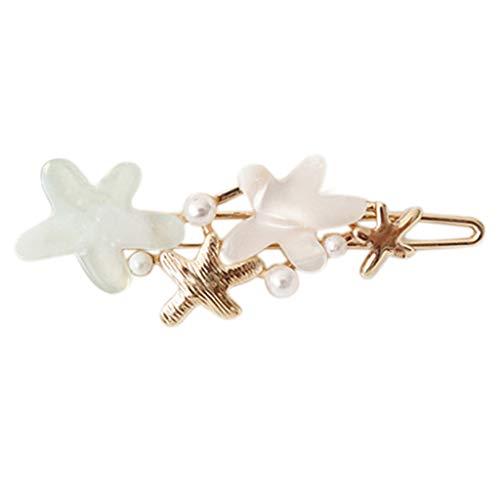 VIccoo Haarklammer, Koreanische Damen Süß Candy Farbe Metalllegierung Bobby Pin Niedlichen Acetat Starfish Blume Nachahmung Perle Haarspange Side Pony Barrette - Grün