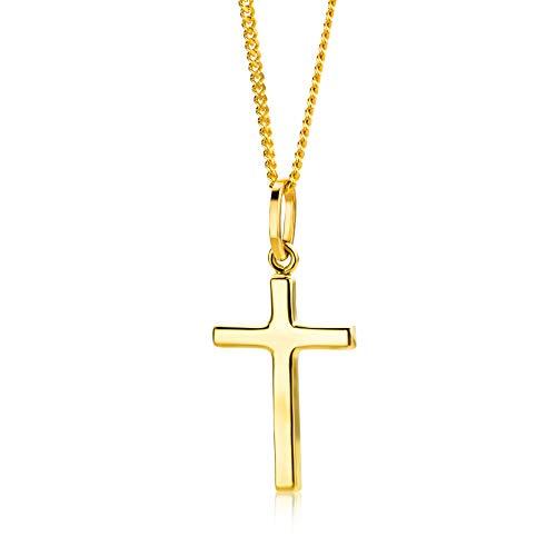 Orovi Kette - Halskette Damen Gelbgold 9 Karat / 375 Gold Kette mit Kreuz 45 cm
