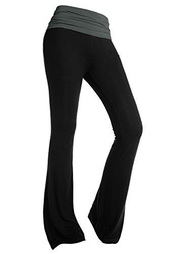 BAISHENGGT - Femme Pantalon de Yoga Jogging Sport Elastique Extensible Noir Taille Gris S