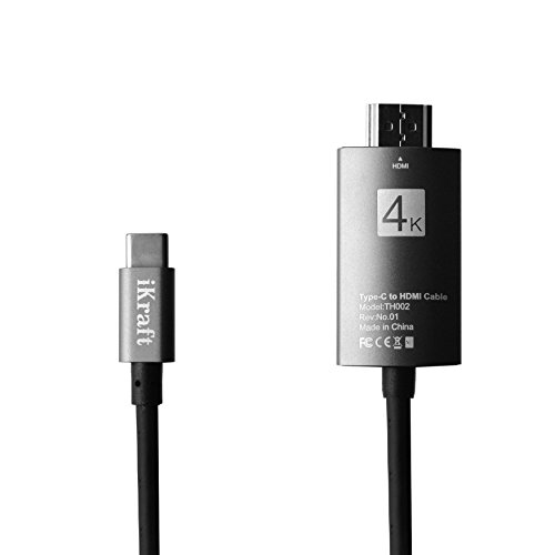 iKraft USB C to HDMI Cable 2 Mtr, USB Type C to HDMI Cable 4K HDMI Cable for Galaxy Note 8, Galaxy S8, 2017 Macbook Pro/ iMac, 2016 MacBook Pro, 2015 MacBook, ChromeBook Pixel - Metal