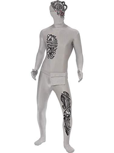 Männer Roboter Kostüm - erdbeerclown - Herren Männer Kostüm hautenger Roboter Suit Ganzkörperanzug mit Bauchtasche und Halbgesichts-Maske, perfekt für Halloween Karneval und Fasching, M, Weiß