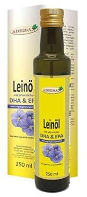 DHA vegan BIO Leinöl 250 ml mit Dosierer | Omega 3 Fettsäure DHA+EPA aus Algengewinnung