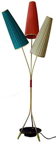 Stehlampe im Stil der 50er Jahre Lampe mit 3 Lampenschirmen. -