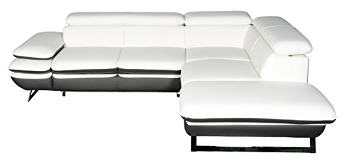 Cotta Prestige Polsterecke, Lederimitat, Weiss/grau, 265x223x74 cm