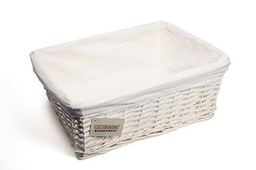WoodLuv Weidenkorb mit Futter, groß, Weiß Wicker Körbe Badezimmer