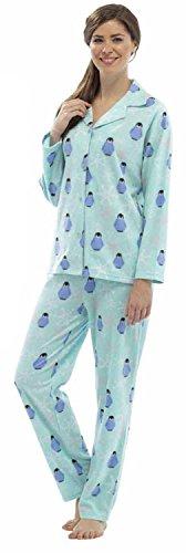 Damen Fleece Penguin Pyjamas Blau