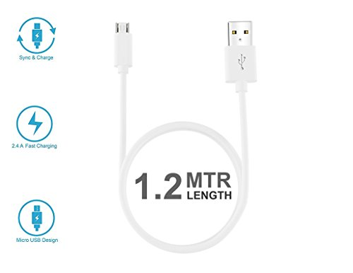 StuffHoods Charging & Data Cable USB Cable For Samsung Galaxy Note 4 Duos / Samsung Note 4 (Note4) Duos USB Cable Original Like Data Cable | Micro USB Fast Charging Cable | Sync Cable | Charger Cable For Power Bank, Bluetooth Earphones, Car Charger | Quick Charge Cable Speed Upto 2.4 Amp | High Speed Data Transfer Cable With Mobile Tablet PC Laptop Android Smartphone V8 Cable ( 1 Meter, Black, White )  available at amazon for Rs.198
