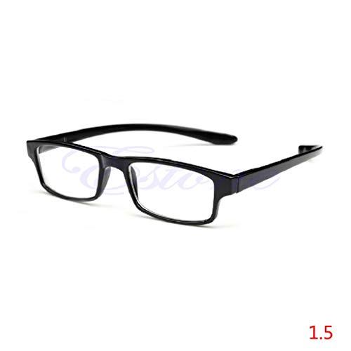 Hoxin Elegante helle Lesebrille, Bequeme presbyopische Brille klar +1.00 ~ +4.00 (Schwarz, 1.5)