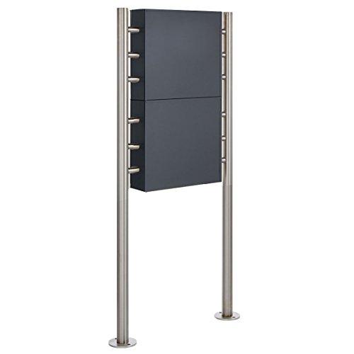 2er Standbriefkasten – 2 fach Briefkastenanlage Design BASIC 381 – Briefkasten Manufaktur Lippe (2 Parteien, senkrecht, Edelstahl / RAL 7016 anthrazitgrau feinstruktur matt) - 3