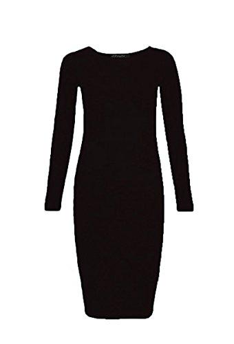 Generic - Robe - Moulante - Manches Longues - Femme Noir
