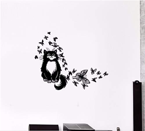 Vinyl Wandtattoo Cute Cartoon Clever Katze Schmetterling Tier Innen Kinderzimmer Dekoration Aufkleber 57X74cm