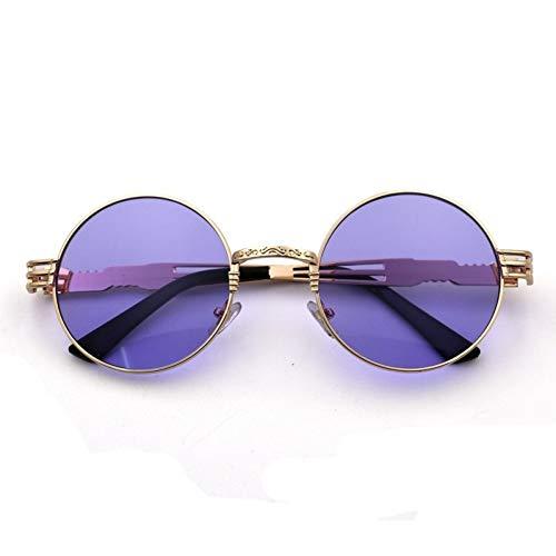 Kjwsbb Runde Unisex-Sonnenbrille Retro Sunshade Multicolor Metal Mirror Sun Glasses