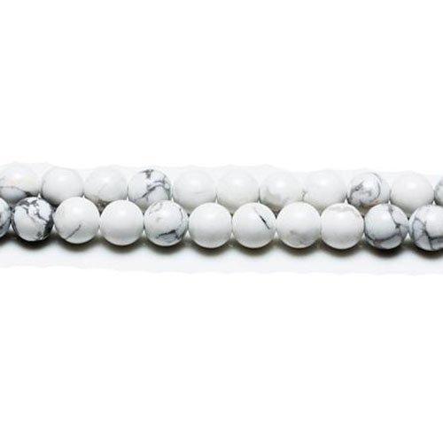 Fil De 45+ Blanc/Gris Howlite 8mm Perles Rond - (GS1564-3) - Charming Beads